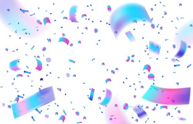 Holographic confetti white background