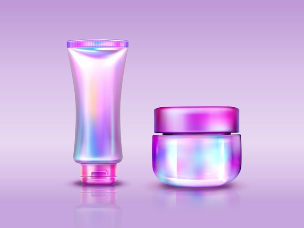 Holographic cosmetics package, iridescent tube and jar