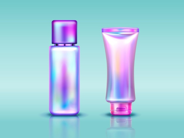 Holographic cosmetics package tube and bottle with hand cream makeup or skin care products