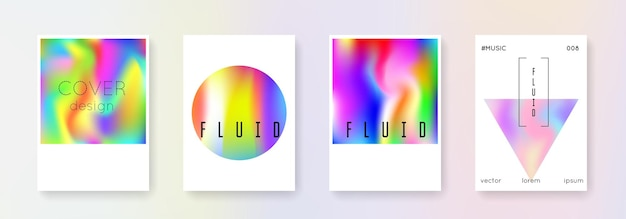 홀로그램 커버 세트입니다. 추상적인 배경입니다. 그라디언트 메쉬가 있는 생생한 홀로그램 커버. 90년대, 80년대 레트로 스타일. 브로셔, 배너, 벽지, 모바일 화면에 대한 무지개 빛깔의 그래픽 템플릿