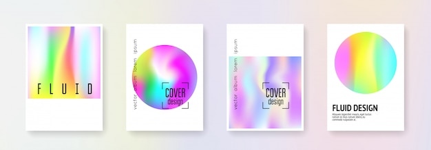 Holographic cover set. abstract backgrounds. Premium Vector