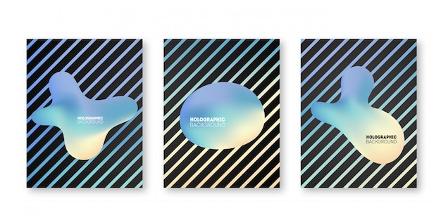 Holographic cover set. iridescent graphic shapes for brochure, banner, wallpaper, mobile.