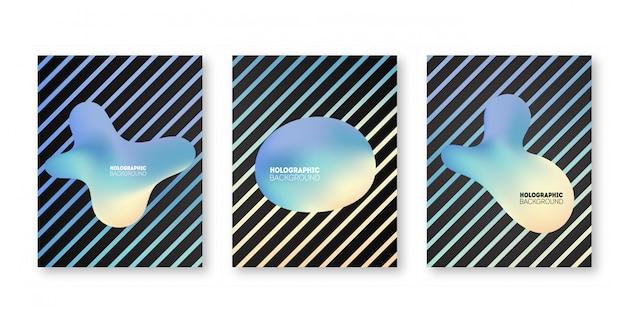 ホログラフィックカバーセット。パンフレット、バナー、壁紙、モバイルの虹色のグラフィック図形。