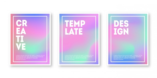 Holographic cover set. iridescent graphic template for brochure, banner, wallpaper, mobile. trendy minimal hologram gradient.