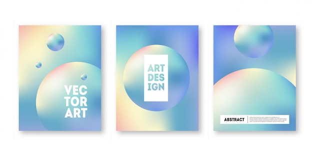 Holographic cover set. trendy geometric hologram gradient for brochure, banner, wallpaper
