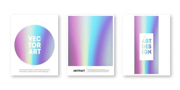 Holographic cover set. trendy minimal hologram gradient for brochure, banner, wallpaper, mobile.