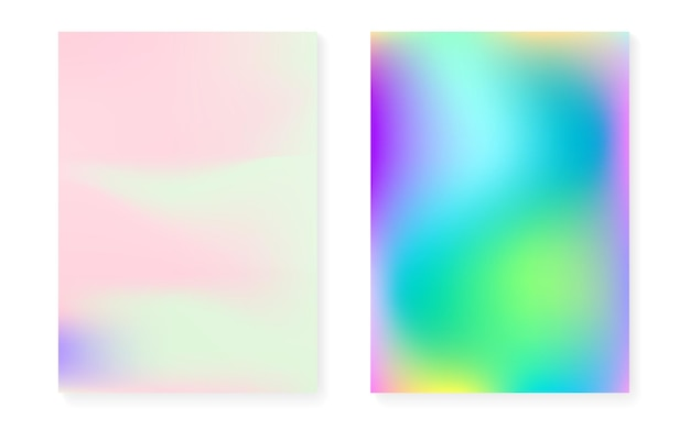 Holographic cover set with hologram gradient background. 90s, 80s retro style. iridescent graphic template for book, annual, mobile interface, web app. hipster minimal holographic cover.