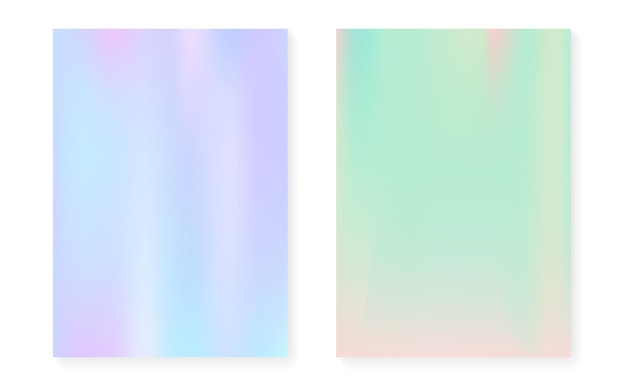 Holographic cover set with hologram gradient background. 90s, 80s retro style. iridescent graphic template for flyer, poster, banner, mobile app. colorful minimal holographic cover.