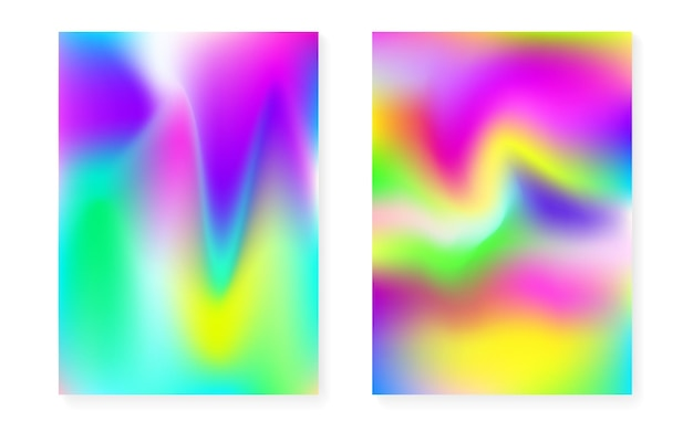 ホログラムグラデーションの背景を持つホログラフィックカバーセット。 90年代、80年代のレトロなスタイル。本、年次、モバイルインターフェイス、webアプリの虹色のグラフィックテンプレート。未来的な最小限のホログラフィックカバー。