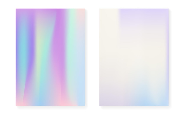 Holographic cover set with hologram gradient background. 90s, 80s retro style. iridescent graphic template for placard, presentation, banner, brochure. colorful minimal holographic cover.