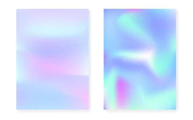 Holographic cover set with hologram gradient background. 90s, 80s retro style. iridescent graphic template for placard, presentation, banner, brochure. hipster minimal holographic cover.