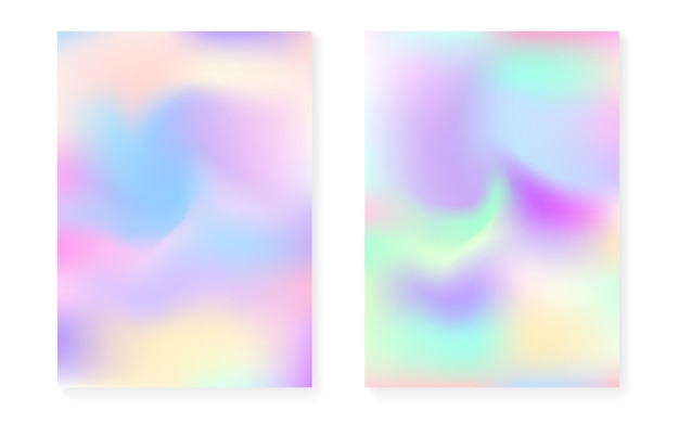 Holographic cover set with hologram gradient background. 90s, 80s retro style. pearlescent graphic template for flyer, poster, banner, mobile app. bright minimal holographic cover.