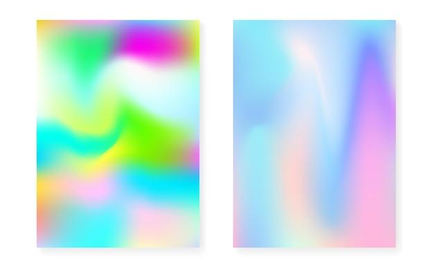 홀로그램 그라데이션 배경으로 설정된 홀로그램 커버입니다. 90년대, 80년대 레트로 스타일. 책, 연간, 모바일 인터페이스, 웹 앱용 진주빛 그래픽 템플릿. 창의적인 최소한의 홀로그램 커버.