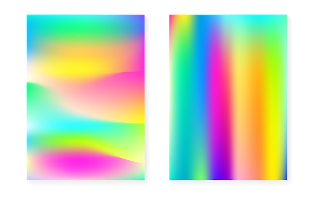 Holographic cover set with hologram gradient background. 90s, 80s retro style. pearlescent graphic template for placard, presentation, banner, brochure. rainbow minimal holographic cover.