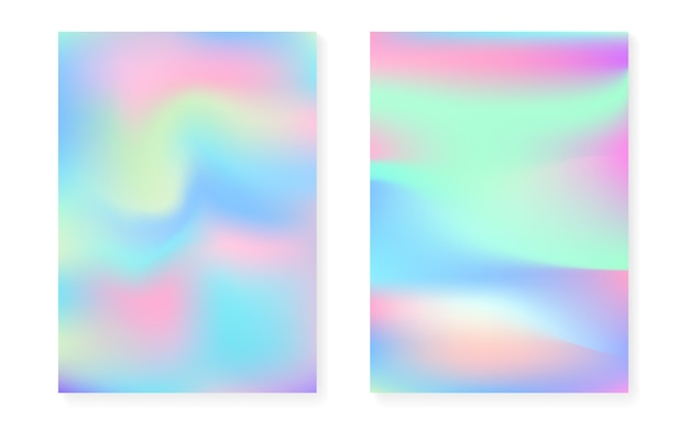 Holographic cover set with hologram gradient background.