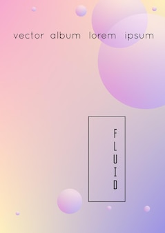 Holographic cover with radial fluid. geometric shape on gradient background. modern hipster template for placard, presentation, banner, flyer, report, brochure. minimal holographic cover, neon colors.