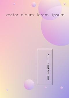 Голографическая крышка с радиальной жидкостью. геометрическая форма на фоне градиента. современный хипстерский шаблон для плаката, презентации, баннера, флаера, отчета, брошюры. минимальная голографическая обложка, неоновые цвета.