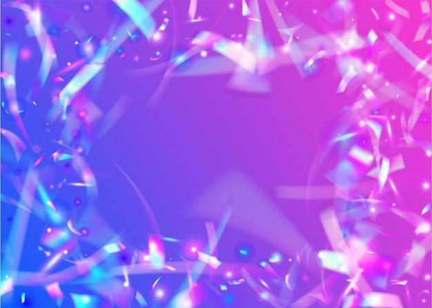 홀로그램 효과. 판타지 아트. 투명한 질감. 디스코 배너입니다. 레인보우 틴슬. 퍼플 메탈 글레어. 흐림 축제 장식. 플라잉 포일. 핑크 홀로그램 효과