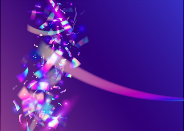 홀로그램 효과. 글래머 아트. 레이저 프리즘. 브라이트 포일. 블루 파티 글리터. 사실적인 그라디언트를 흐리게 합니다. 떨어지는 반짝임. 글리치 색종이 조각. 핑크 홀로그램 효과