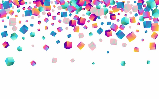 Holographic element vector white background. multicolored abstract rhombus template. graphic block image. gradient box style presentation.