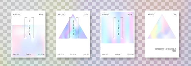 홀로그램 유체 세트. 추상적인 배경입니다. 그라디언트 메쉬가 있는 밝은 홀로그램 유체. 90년대, 80년대 레트로 스타일. 책, 연간, 모바일 인터페이스, 웹 앱용 진주빛 그래픽 템플릿.