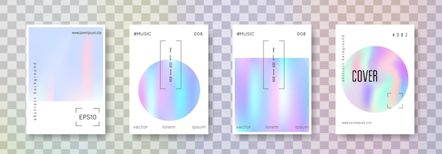 Holographic fluid set. abstract backgrounds. liquid holographic fluid with gradient mesh. 90s, 80s retro style. iridescent graphic template for book, annual, mobile interface, web app.