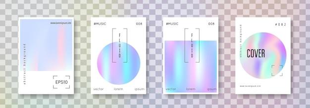 홀로그램 유체 세트. 추상적인 배경입니다. 그라데이션 메쉬가 있는 액체 홀로그램 유체. 90년대, 80년대 레트로 스타일. 책, 연간, 모바일 인터페이스, 웹 앱용 무지개 빛깔의 그래픽 템플릿.