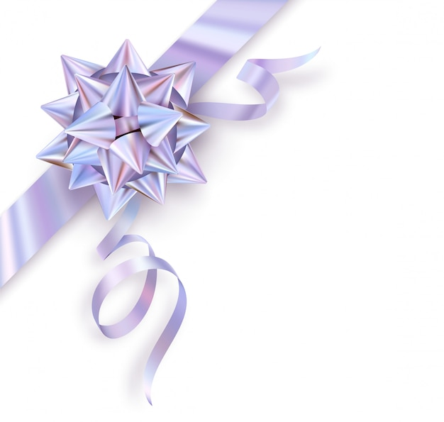 Holographic foil gift bow isolated on white background.