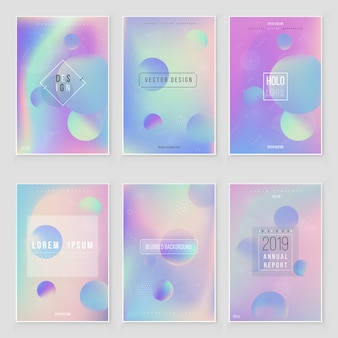 Holographic foil  gradient  iridescent  background set bright trendy hologram