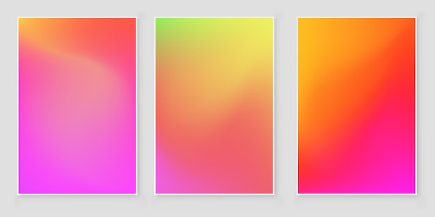 Holographic foil gradient iridescent background set bright trendy minimal hologram