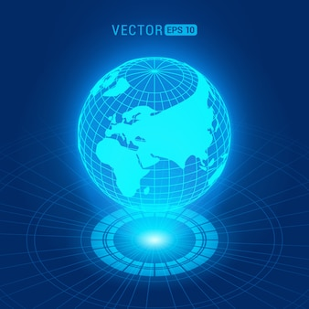 Holographic globe with continents against the dark-blue abstract background with circles and light source
