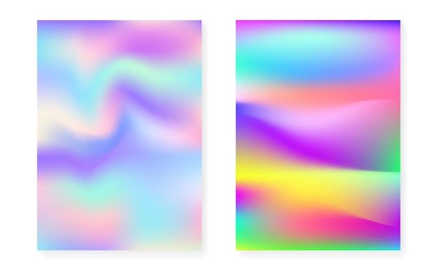 Holographic gradient background set with hologram cover. 90s, 80s retro style. iridescent graphic template for flyer, poster, banner, mobile app. retro minimal holographic gradient.
