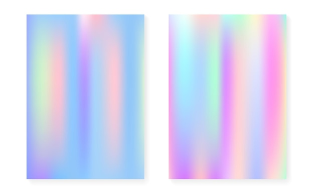 Holographic gradient background set with hologram cover. 90s, 80s retro style. iridescent graphic template for placard, presentation, banner, brochure. hipster minimal holographic gradient.