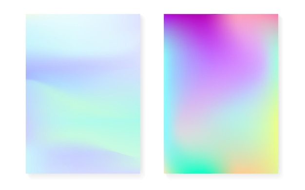 Holographic gradient background set with hologram cover. 90s, 80s retro style. pearlescent graphic template for flyer, poster, banner, mobile app. rainbow minimal holographic gradient.