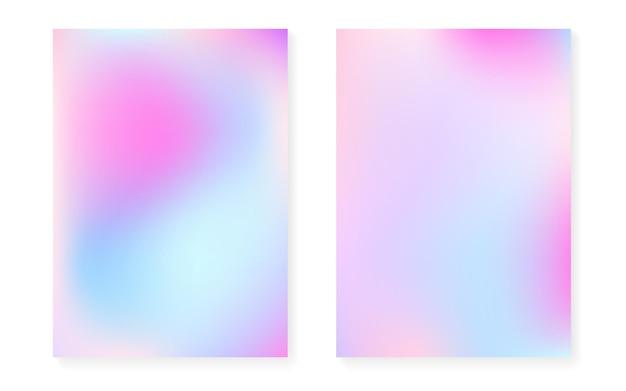 홀로그램 커버가 있는 홀로그램 그라데이션 배경. 90년대, 80년대 레트로 스타일. 책, 연간, 모바일 인터페이스, 웹 앱용 진주빛 그래픽 템플릿. 플라스틱 최소한의 홀로그램 그라데이션.