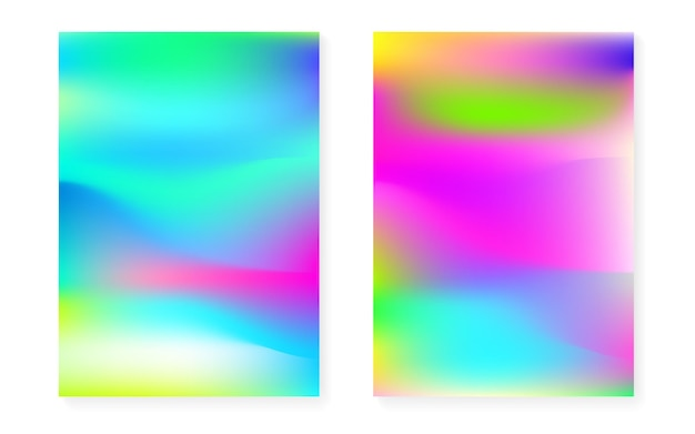 홀로그램 커버가 있는 홀로그램 그라데이션 배경. 90년대, 80년대 레트로 스타일. 브로셔, 배너, 벽지, 모바일 화면용 진주빛 그래픽 템플릿. hipster 최소한의 홀로그램 그라데이션.