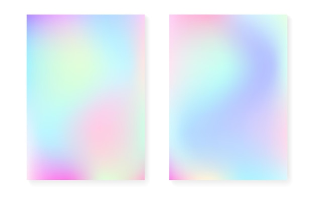 Holographic gradient set. pearlescent graphic template