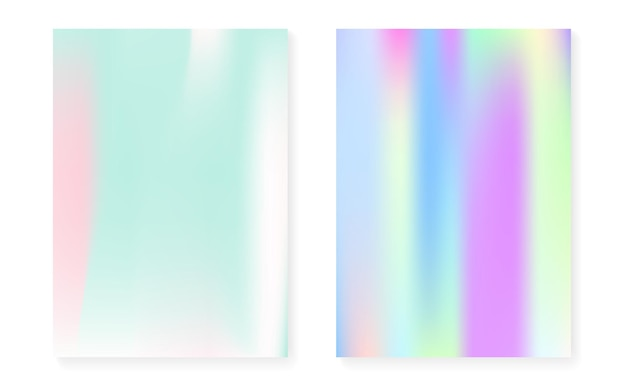 ホログラムカバー付きホログラフィックグラデーションセット。 90年代、80年代のレトロなスタイル。