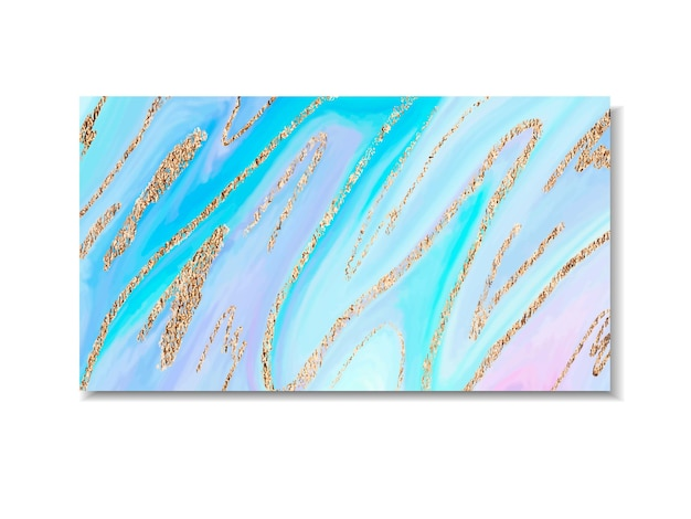 Holographic marble stone design with golden stripes vector template design cover book printing busin...