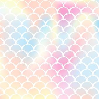 그라데이션 비늘이 있는 홀로그램 인어 배경. 밝은 색상 전환. 물고기 꼬리 배너 및 초대장입니다. 파티를 위한 수중 및 바다 패턴입니다. 홀로그램 인어가 있는 창의적인 배경.