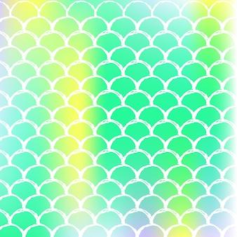 그라데이션 비늘이 있는 홀로그램 인어 배경. 밝은 색상 전환. 물고기 꼬리 배너 및 초대장입니다. 파티를 위한 수중 및 바다 패턴입니다. 홀로그램 인어가 있는 여러 가지 빛깔의 배경.