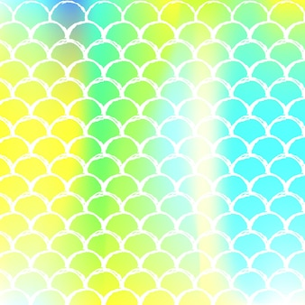 그라데이션 비늘이 있는 홀로그램 인어 배경. 밝은 색상 전환. 물고기 꼬리 배너 및 초대장입니다. 파티를 위한 수중 및 바다 패턴입니다. 홀로그램 인어와 네온 배경입니다.