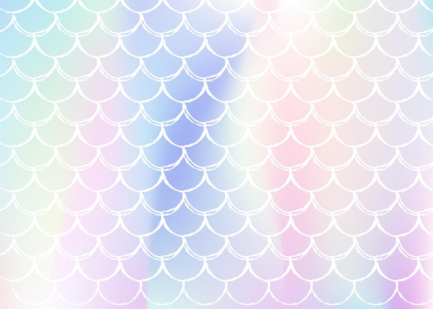 Holographic mermaid background with gradient scales. bright color transitions. fish tail banner and invitation. underwater and sea pattern for girlie party. futuristic back with holographic mermaid.