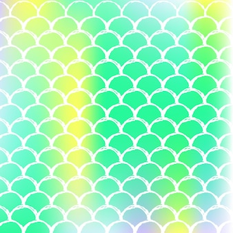 Holographic mermaid background with gradient scales. bright color transitions. fish tail banner and invitation. underwater and sea pattern for party. multicolor backdrop with holographic mermaid.