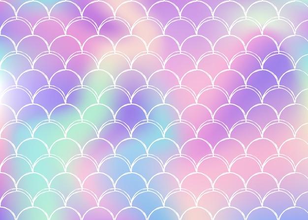 Голографический фон русалки с градиентными шкалами. яркие цвета