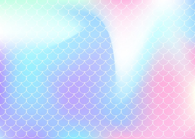 Holographic mermaid background with gradient scales.