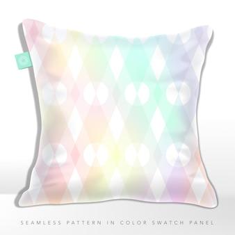 パステルカラーの幾何学的なシームレスパターンを備えたホログラフィックまたは虹色のクッション