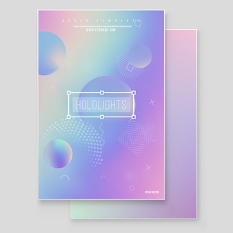 Holographic paper magic foil marble background vector set.  minimalistic hipster design iridescent graphic