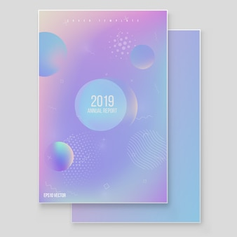 Holographic paper magic foil marble background vector set
