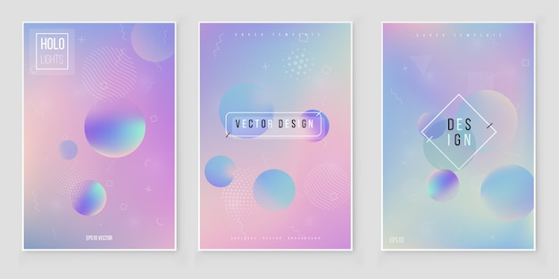 Holographic paper magic foil marble cover vector set.